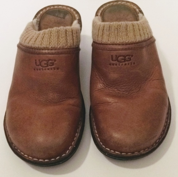 UGG Shoes - UGG 6 Leather Sweater Cuff Fur Clog Mules